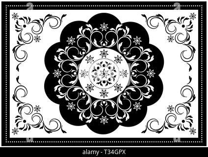 Vintage white frame with black wavy oval border and white pattern in the center of the spiral strips with leaves and black border with white beads - Stock Photo