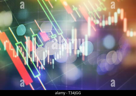 Abstract glowing forex chart interface wallpaper. Investment, trade, stock, finance and analysis concept. - Stock Photo