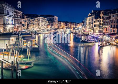 View of the Grand Canal from Rialto Bridge, Venice, Veneto, Italy - Stock Photo