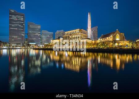 Minato Mirai cityscape at night, Yokohama, Japan - Stock Photo