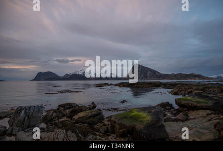 Landscape view from Sandnes, Flakstad, Lofoten, Nordland, Norway - Stock Photo