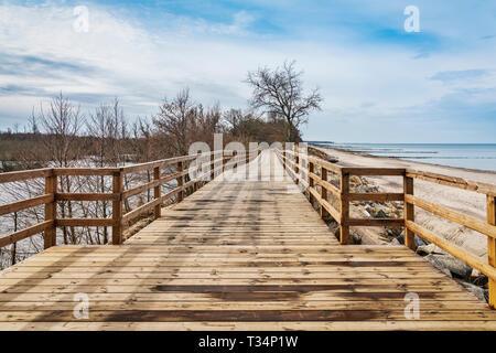 The wooden walkway is located between the Baltic Sea coast and the salt marsh, Kolobrzeg, West Pomerania, Poland, Europe - Stock Photo