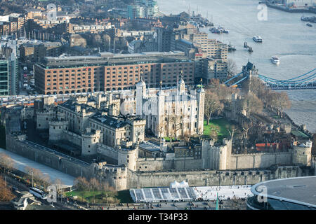 Aerial view of Tower of London, London, England, United Kingdom