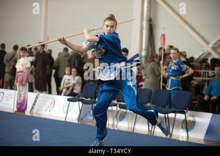 Vilniu, Lithuania  6th Apr, 2019  A girl performs at the Fifth