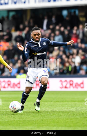 London, UK. 06th Apr, 2019. Mahlon Romeo of Millwall during the EFL Sky Bet Championship match between Millwall and West Bromwich Albion at The Den, London, England on 6 April 2019. Photo by Adamo Di Loreto.  Editorial use only, license required for commercial use. No use in betting, games or a single club/league/player publications. - Stock Photo