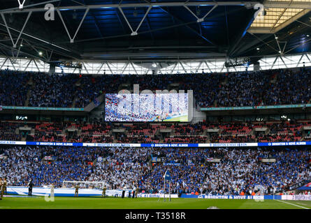 London, United Kingdom. 06th Apr, 2019. Brighton Fans during The FA Emirates Cup Semi-Final match between Manchester City and Brighton & Hove Albion at Wembley Stadium, London, UK on 06 Apr 2019. Credit: Action Foto Sport/Alamy Live News - Stock Photo