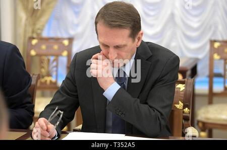 Moscow, Russia. 05th Apr, 2019. Russian Foreign Intelligence Service Director Sergei Naryshkin during a meeting of the Russian Security Council at the Kremlin April 5, 2019 in Moscow, Russia. Credit: Planetpix/Alamy Live News - Stock Photo