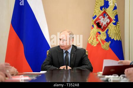 Moscow, Russia. 05th Apr, 2019. Russian President Vladimir Putin chairs a meeting of the Russian Security Council at the Kremlin April 5, 2019 in Moscow, Russia. Credit: Planetpix/Alamy Live News - Stock Photo