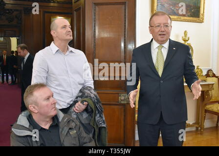 London, UK. 06th Apr, 2019.  Russian Ambassador to the UK Alexander Yakovenko, UK citizen Charles Rowley and his brother Matthew Rowley (R-L) during a tour around the Russian Embassy in London. Charles Rowley and his partner Dawn Sturgess were hospitalised on June 30, 2018, in Amesbury; Ms Sturgess died on July 8. The couple was reportedly exposed to the Novichok poison, the same nerve agent that was used to poison former Russian military intelligence officer Sergei Skripal and his daughter Yulia in Salisbury months before. Ilya Dmitryachev/TASS Credit: ITAR-TASS News Agency/Alamy Live News - Stock Photo