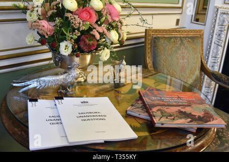 London, UK. 06th Apr, 2019. London, UK. 06th Apr, 2019.  A copy of the Russian Embassy's report on the Salisbury accident. Former Russian military intelligence officer Sergei Skripal and his daughter Yulia were poisoned in Salisbury, the UK, in March 2018. Ilya Dmitryachev/TASS Credit: ITAR-TASS News Agency/Alamy Live News Credit: ITAR-TASS News Agency/Alamy Live News - Stock Photo
