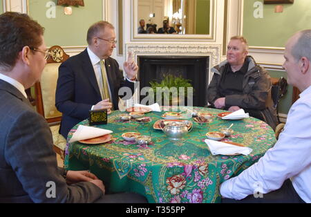 London, UK. 06th Apr, 2019.  UK citizen Charles Rowley, his brother Matthew Rowley, and Russian Ambassador to the UK Alexander Yakovenko (L-R) drink tea during a meeting at the Russian Embassy in London. Charles Rowley and his partner Dawn Sturgess were hospitalised on June 30, 2018, in Amesbury; Ms Sturgess died on July 8. The couple was reportedly exposed to the Novichok poison, the same nerve agent that was used to poison former Russian military intelligence officer Sergei Skripal and his daughter Yulia in Salisbury months before. Ilya Dmitryachev/TASS Credit: ITAR-TASS News Agency/Alamy Li - Stock Photo