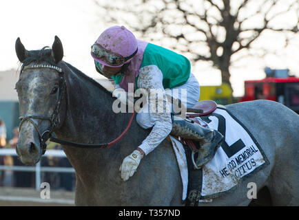 South Ozone Park, NY, USA. 6th Apr, 2019. New York, U.S. - April 6, 2019: Tacitus, ridden by Jose Ortiz, wins the 2019 running of the G2 Wood Memorial at Aqueduct Racecourse in South Ozone Park, NY. Sophie Shore/ESW/CSM/Alamy Live News - Stock Photo