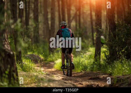 male athlete mountainbiker rides a bicycle along a forest trail - Stock Photo