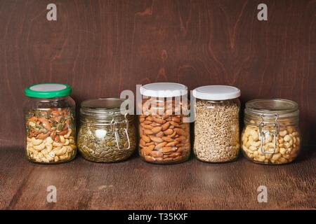 Mix of nuts and seeds - Stock Photo