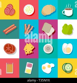 Breakfast colorful icon set. including sausages, bacon, coffee, orange juice, cheese, tomato, fried and boiled eggs, jam and butter, cucumber, salad.  - Stock Photo