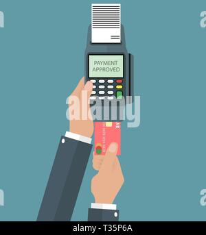 Hand holding pos terminal and pushing credit card in to it. Using pos terminal concept. vector illustration in flat design on grey background - Stock Photo