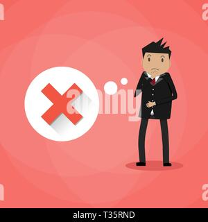 Sad cartoon businessman and thought bubble with red cross checkmark. Bad idea, wrong decision. incorrect choice concept. vector illustration in flat d - Stock Photo