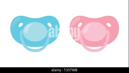 Child pacifier. Baby nipple set, blue and pink. Baby care equipment. Vector illustration on white isolated background - Stock Photo