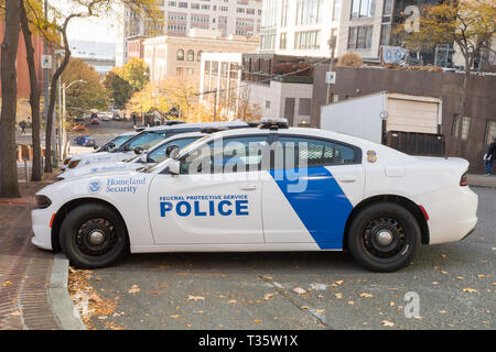 Dodge vehicles from the Federal Protective Service Police in Seattle, Washington, USA. - Stock Photo