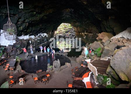 Jameos del Agua saltwater lake and cafe in a volcanic lava tube, adapted by Cesar Manrique, Lanzarote, Canary Islands, February 2018. - Stock Photo