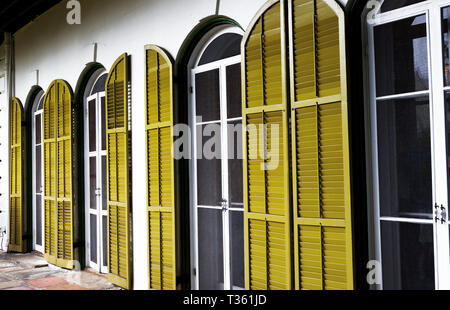 Doors and shutters on the porch of the Hemingway house in Key West, Florida - Stock Photo