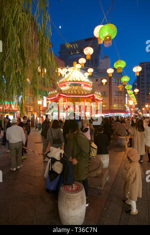 Kobe, Hyogo, Japan - 17th November 2018 : View of the beautiful public square in Kobe's Chinatown at night in Kobe, Japan - Stock Photo