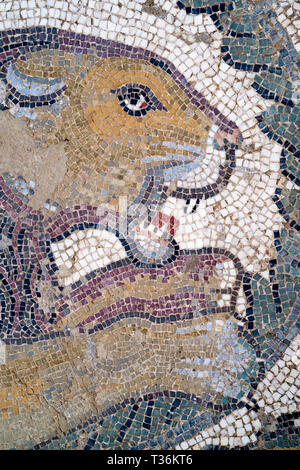 Famous mosaics and mosiac art of animals by Ovoid Portico at Roman Villa del Casale, Piazza Armerina, Sicily, Italy - Stock Photo