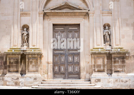 Front elevation and steps of Baroque 16th Century Duomo Cathedral of Santa Maria la Nova in Chiaramonte Gulfi, Sicily - Stock Photo
