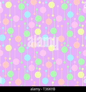 Simple geometric colorful circles and lines on light background. Bright abstract vector seamless patterns for textile, prints, wallpaper etc. - Stock Photo