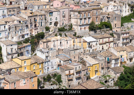 Aerial view of Ragusa Ibla, a famous hill town in South East Sicily - Stock Photo