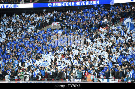 Fans during the FA Cup Semi Final match between Brighton & Hove Albion and Manchester City at Wembley Stadium . 6 April 2019 Photograph taken by Simon Dack  Editorial use only. No merchandising. For Football images FA and Premier League restrictions apply inc. no internet/mobile usage without FAPL license - for details contact Football Dataco - Stock Photo