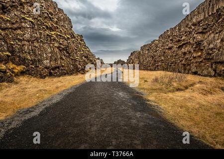 Thingvellir is a national park in the municipality of Bláskógabyggð in southwestern Iceland. Þingvellir is a site of historical, cultural, and geologi - Stock Photo
