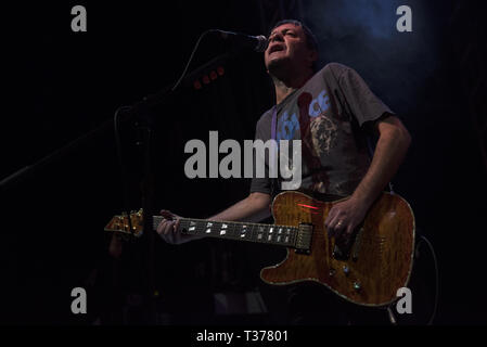 Belfast punk rock band Stiff Little Fingers performing at the O2 Academy in Leeds on the opening night of The Ignition Tour 2019  Featuring: Ian McCallum, Stiff Little Fingers Where: Leeds, United Kingdom When: 06 Mar 2019 Credit: Graham Finney/WENN - Stock Photo