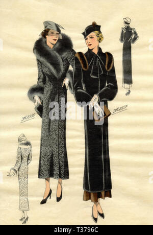 French vintage fashion sketch, Woman coats 1930s - Stock Photo