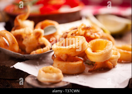 Traditional Italian fried calamari close up - Stock Photo