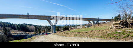 Wide panorama of a new highway under construction in Polandi on national road no 7, E77, called zakopianka,. The viaduct over  the village Skomielna - Stock Photo