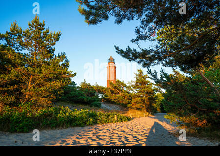 West Beach of Prerow and Lighthouse - Stock Photo