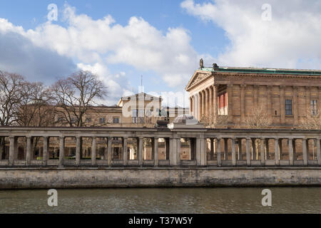 Alte Nationalgalerie and Neues Museum by the Spree River in Berlin, Germany, on a sunny day at early spring. - Stock Photo