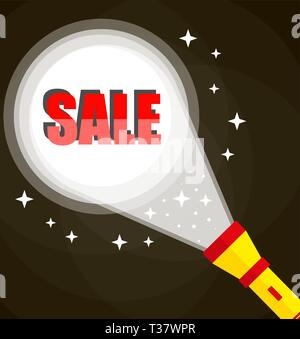 Flashlight and sale sign. Midnight hot sale. vector illustration in flat style on dark background - Stock Photo