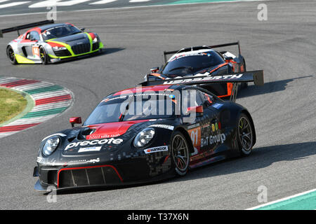 Italy - 29 March, 2019: Porsche 911 GT3 R of Herberth Motorsport Germany Team - Stock Photo