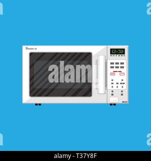 White modern closed microwave oven. vector illustration in flat style on blue background. - Stock Photo
