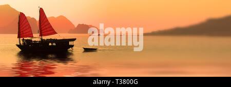 Junk boat at sunset in Halong Bay, Vietnam - Stock Photo