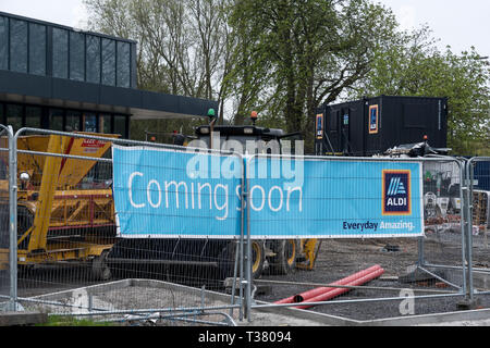 Construction of a new Aldi supermarket on the outskirts of Chester city centre, Cheshire, UK - Stock Photo