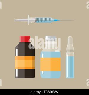 Ampoules and syringe with amedicament. vector illustration in flat style - Stock Photo