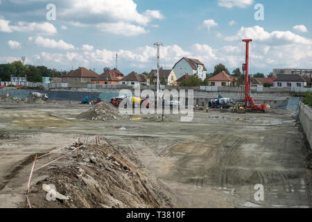 Sibiu, Romania - September 17, 2019. workers at The mall Festival Centrum building site - Stock Photo