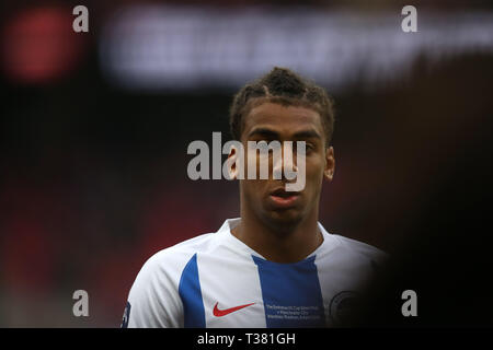 London, UK. 06th Apr, 2019. Bernardo of Brighton & Hove Albion looks on.The Emirates FA Cup, semi-final match, Manchester City v Brighton & Hove Albion at Wembley Stadium in London on Saturday 6th April 2019.  this image may only be used for Editorial purposes. Editorial use only, license required for commercial use. No use in betting, games or a single club/league/player publications . Credit: Andrew Orchard sports photography/Alamy Live News - Stock Photo
