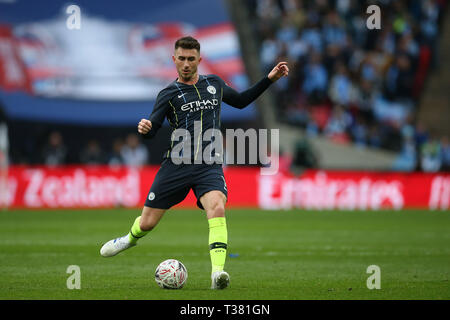 London, UK. 06th Apr, 2019. Aymeric Laporte of Manchester City in action.The Emirates FA Cup, semi-final match, Manchester City v Brighton & Hove Albion at Wembley Stadium in London on Saturday 6th April 2019.  this image may only be used for Editorial purposes. Editorial use only, license required for commercial use. No use in betting, games or a single club/league/player publications . Credit: Andrew Orchard sports photography/Alamy Live News - Stock Photo