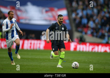 London, UK. 06th Apr, 2019. Ilkay Gundogan of Manchester City in action.The Emirates FA Cup, semi-final match, Manchester City v Brighton & Hove Albion at Wembley Stadium in London on Saturday 6th April 2019.  this image may only be used for Editorial purposes. Editorial use only, license required for commercial use. No use in betting, games or a single club/league/player publications . Credit: Andrew Orchard sports photography/Alamy Live News - Stock Photo