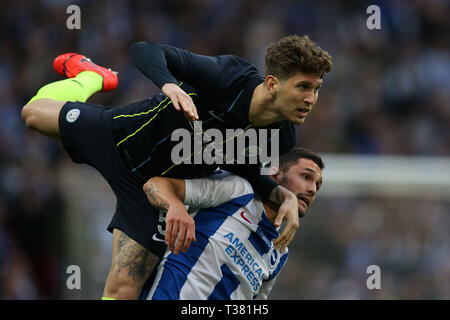London, UK. 06th Apr, 2019. John Stones of Manchester city in action. The Emirates FA Cup, semi-final match, Manchester City v Brighton & Hove Albion at Wembley Stadium in London on Saturday 6th April 2019.  this image may only be used for Editorial purposes. Editorial use only, license required for commercial use. No use in betting, games or a single club/league/player publications . Credit: Andrew Orchard sports photography/Alamy Live News - Stock Photo