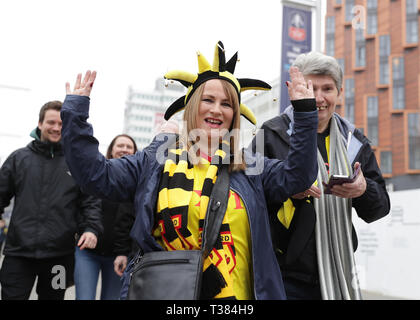 London, UK. 7th Apr 2019. The Emirates FA Cup, semi final, Watford versus Wolverhampton Wanderers; Watford fan arriving at Wembley Stadium Credit: Action Plus Sports Images/Alamy Live News - Stock Photo